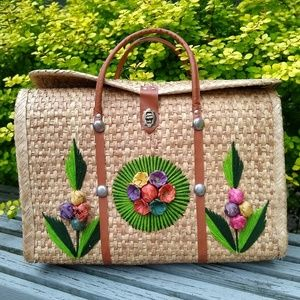 Vintage 1970s straw tote, Mexico wicker floral bag